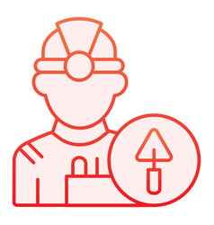 worker flat icon builder red icons in trendy flat vector image