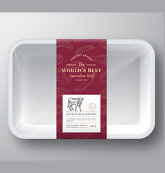 Worlds best beef abstract plastic tray vector