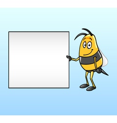 bee holding a blank board vector image vector image