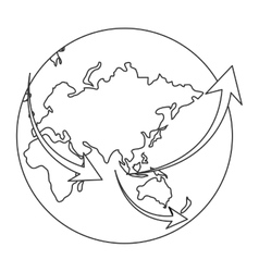 Earth globe with arrows icon vector