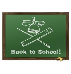 Green Wood school desks and hand-drawn chalk pictu vector image