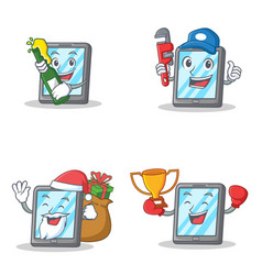 set of tablet character with beer plumber winner vector image
