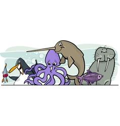 Cartoon sea life animals vector image vector image
