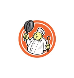 Fat Buddha Chef Cook Holding Pan Circle Cartoon vector image vector image