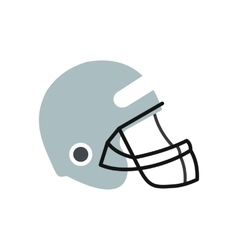 Football helmet with face mask flat icon vector image