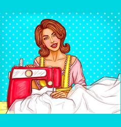 pop art woman dressmaker seamstress or sewer vector image