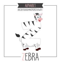 alphabet letter z and zebra vector image
