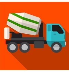 Concrete mixer flat icon vector image