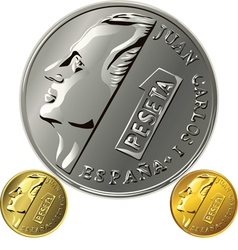 Spanish money peseta gold and silver coin with the vector image