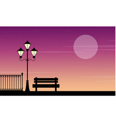Street lamp with chair beauty landscape at sunrise vector