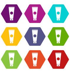 cream tube icon set color hexahedron vector image vector image
