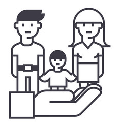 family life protectioninsurance line icon vector image vector image