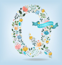 floral letter q with blue ribbon vector image