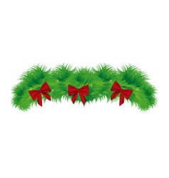 realistic pine arch with red ribbon christmas vector image vector image