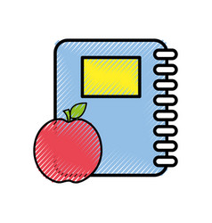 rings notebook tool with apple fruit vector image vector image