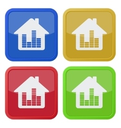 set of four square icons - house with equalizer vector image
