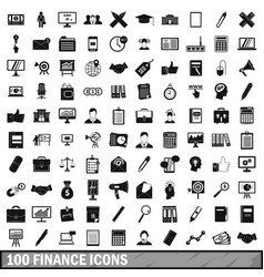 100 finance icons set simple style vector