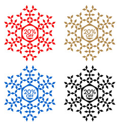 20 off discount sticker snowflake 20 off sale vector image