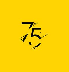 75 years anniversary celebration elegant number vector