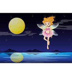 A fairy near the moon vector