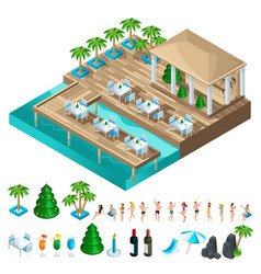 a set isometric icons with dancing people vector image