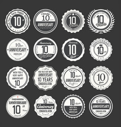 Anniversary retro labels 10 years collection 2 vector