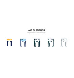 Arc triomphe icon in different style two vector