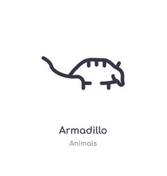 Armadillo outline icon isolated line from animals vector