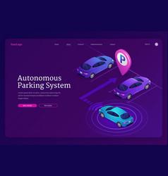 Autonomous parking system isometric landing page vector