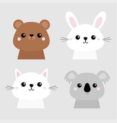 bear rabbit hare grizzly koala cat kitten head vector image