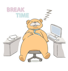 big bear sleeping on a chair at working place vector image