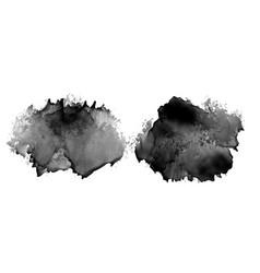Black ink stain watercolor texture design set vector
