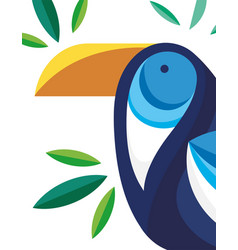 Blue beautiful bird foliage nature fauna flora vector