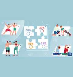 Bodybuilding flat inforgraphics vector