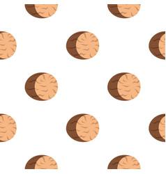 Brown half of nutmeg pattern flat vector