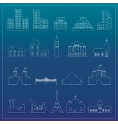 Buildings flat design web icons set vector image