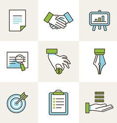 business icons in outline style vector image