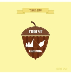 Camping wilderness adventure badge graphic design vector image