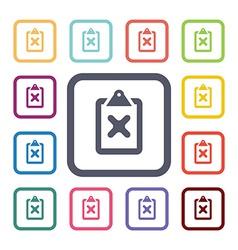 cancel flat icons set vector image
