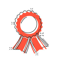 cartoon badge with ribbon icon in comic style vector image