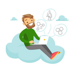 Caucasian student sitting on the cloud with laptop vector
