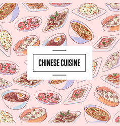 chinese cuisine poster with asian dishes vector image
