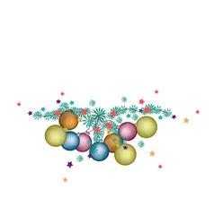 Christmas Balls Decoration on Fir Twigs vector image