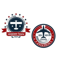 Circular aviation emblems or badges vector image