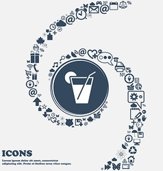 cocktail icon in the center Around the many vector image
