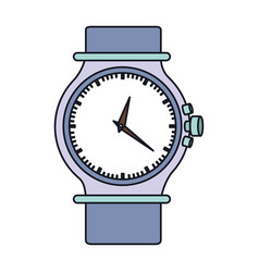 Color graphic of purple female bracelet clock vector
