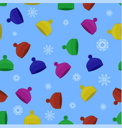 Colorful winter knitted hat seamless pattern vector