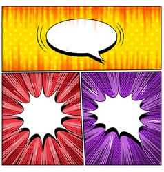 comic three explosive backgrounds vector image