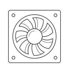 Computer air fan line icon vector