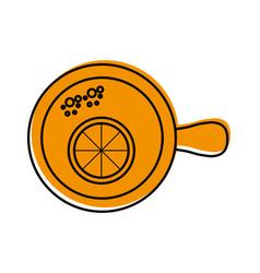 Cup of tea with slice orange refreshment liquid vector